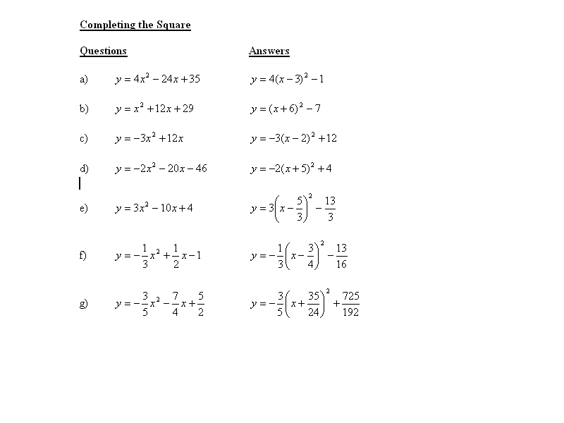 Quadratics